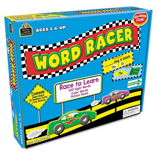 """Teacher Created Resources Products - Teacher Created Resources - Word Racer Game, Ages 5 & Up, 2-4 Players - Sold As 1 Each - Each """"driver"""" draws a sentence card, chooses a sight word and reads the sentence. - If the sentence is correct, he or she moves forward. - Comes with game board, 50 sentence"""
