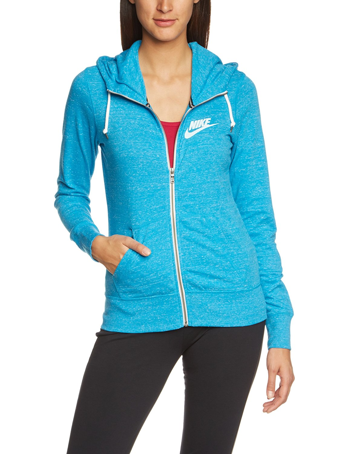 caf28157a066 Get Quotations · Nike Women s Gym Vintage Full Zip Hoodie-Blue-Large