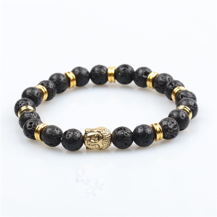 Trendy jewelry unisex round balmatin beads bracelet with lion head stainless steel accessories bracelet