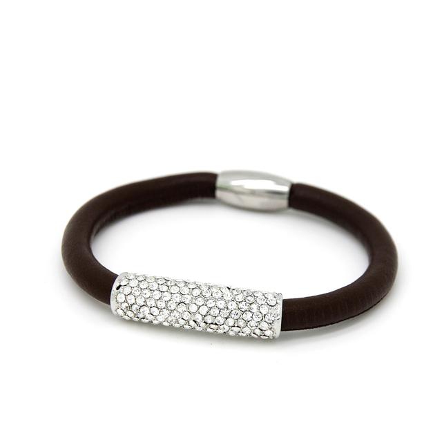 c8875d1cec4f De Metal de plata tubo lleno de cristal de encanto marrón pulseras de cuero  barato EB050