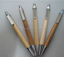bamboo woodmaterial ballpoint pen with metal clip CH-6553 laser logo workable promotional ballpen