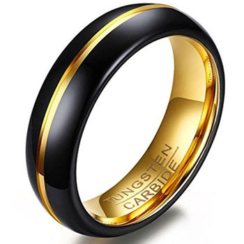 Fashion jewelry black and gold plated blank ring for inlay tungsten ring manufacturers and suppliers in china