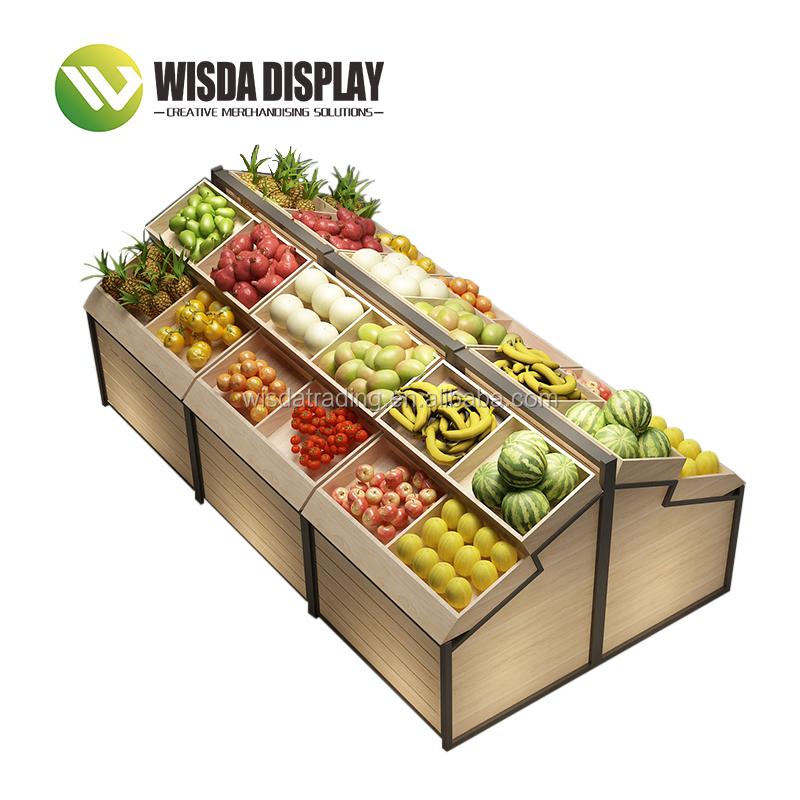 סופרמרקט מדף תצוגת עץ פירות ירקות מדפי wisda תצוגה
