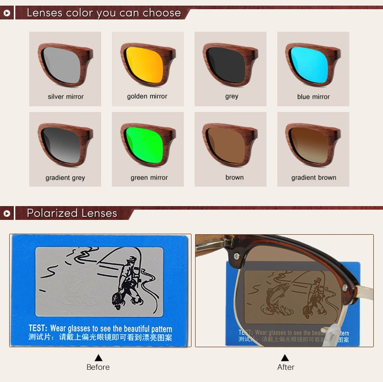 Half Frame Round Wooden Sunglasses Polarized Sunglasses With Uv400 ...