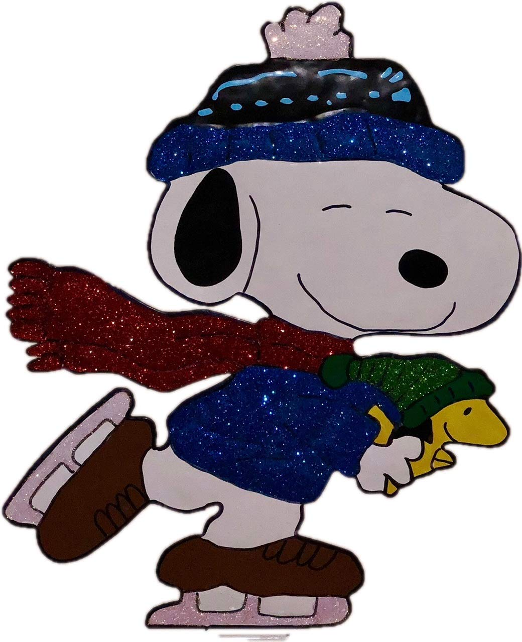 """ProductWorks 18"""" Peanuts Snoopy Ice Skating with Woodstock Hammered Metal Christmas Decoration"""