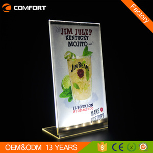 Factory customized cheap light up drink restaurant acrylic led menu holder