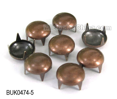 Fancy plated gold 12mm round metal nail claw rivets