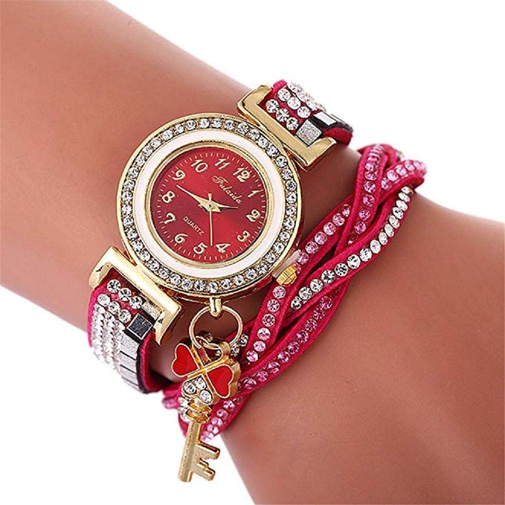 Women's Quartz Watches, Windoson Luxury Crystal Quartz Bracelet Watches Ladies Wrap Around Leather Wrist Analog Watch Fashion Wristwatch Rhinestone Watches for Women Watches Clearance (D)