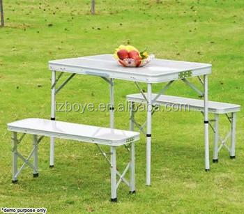 Portable Pliant En Aluminium Table Avec 2 Banc Chaise Siège Pique