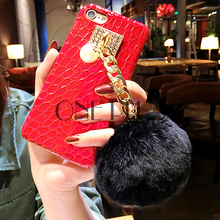Luxury Crocodile Grain Phone Case For Iphone 7 7s Silicon Cell Phone Bag For Iphone 6 6s With Fur Ball