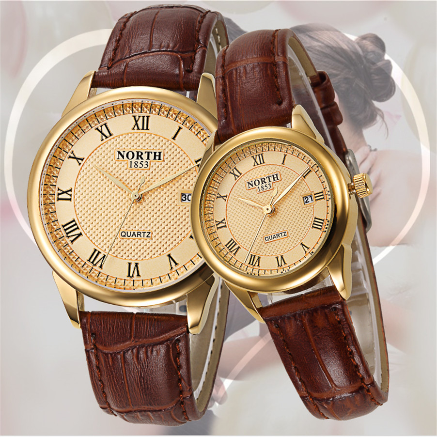 Print Your Own Brand Low MOQ Japan PC32 movement Leather Strap Gold Couple Lover Wrist Watch