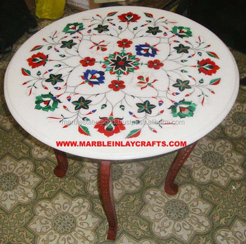 Indian Marble Inlay Table Top Coffee Round Tops Stone Pietra Dura Product On