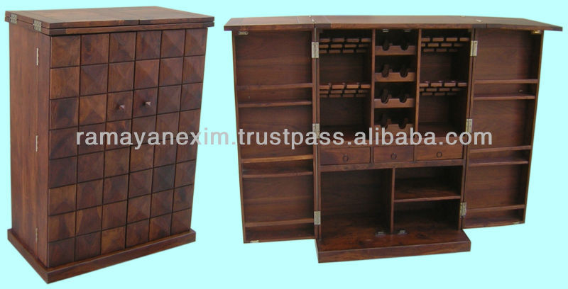 Wooden Wine Cabinet Rack Bar Counter Table Set Unit Sheesham Wood Furniture