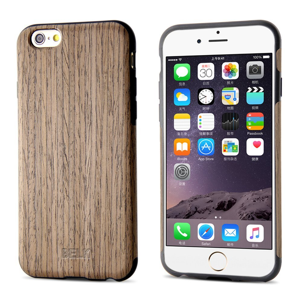 iPhone 6S Case, iPhone 6 Case, BELK [Air To Beat] [Slim Matte] Non Slip Wood Tactile Extra Grip Rubber Bumper [Extremely Light] Soft Wood Back Cover, Fingerprint Free Flex TPU Case, Walnut