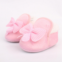 Winter Warm Baby Shoes Soft Bottom Non-slip Bow Toddler shoes First walkers Dropshipping Freeshipping