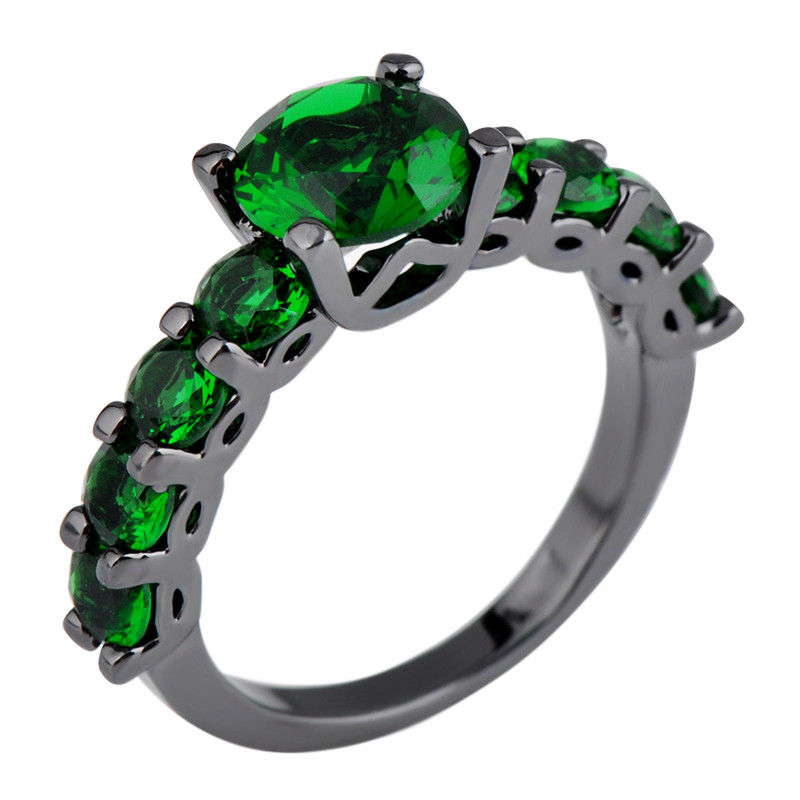 Elegant Emerald Jewelry Black Gold Filled Ring for Women/Men Wedding Band Vintage Green CZ Engagement Rings Anel Sz6-10 RB0328
