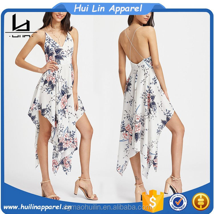 clothing manufacturers overseas crisscross back spaghetti straps floral print summer long dress