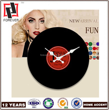 Glass re-American classical vinyl record CD bar club hall music room decoration mute hanging table wall clock from China Factory