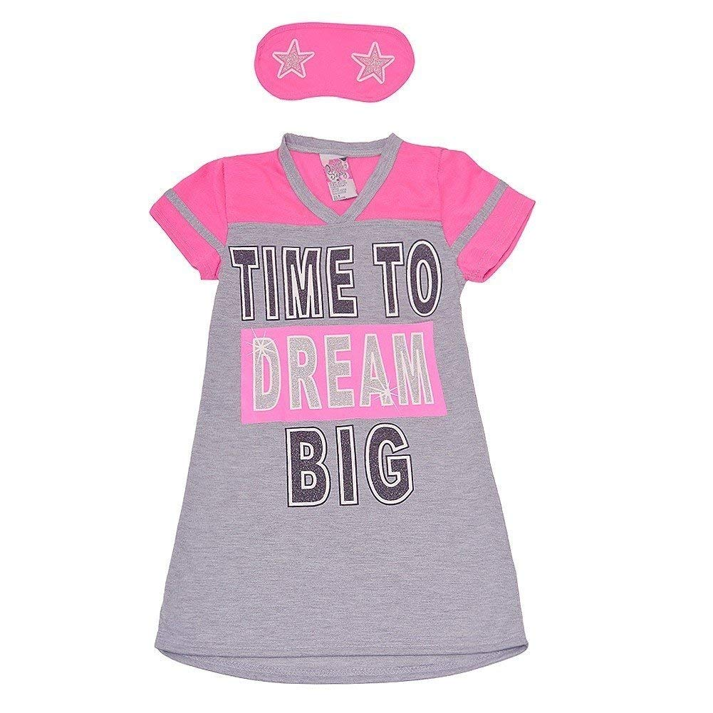 961099ebbf Get Quotations · SWEET N SASSY Little Girls Gray Time to Dream Big Sleep  Mask Nightgown 4-6