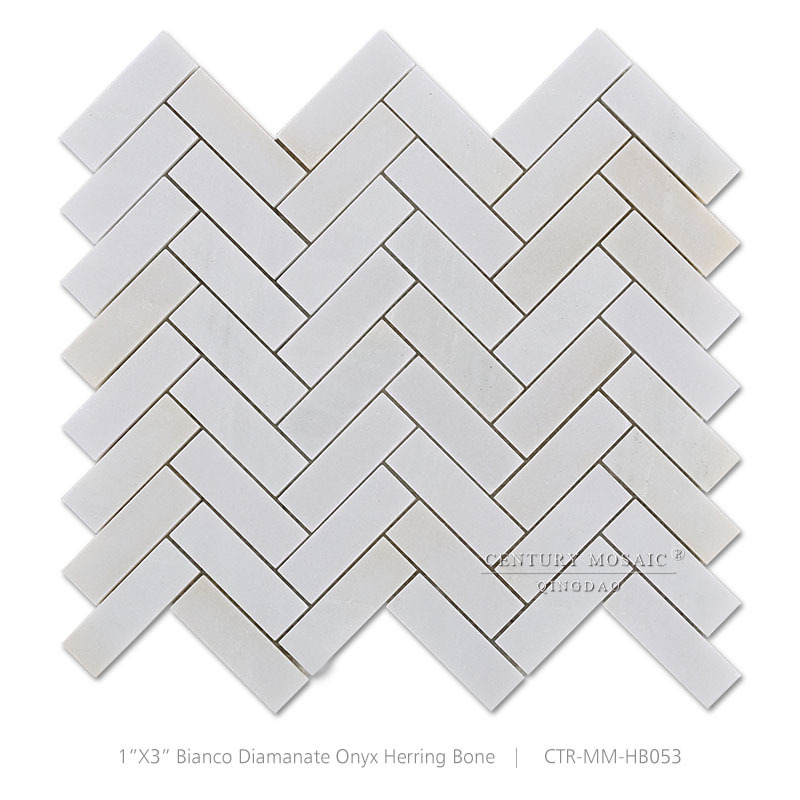 Bianco Diamante Onyx Polished White Marble Herringbone