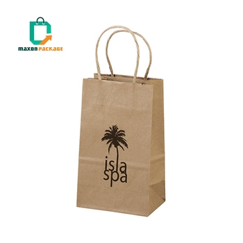 Guangzhou manufacturer Custom Recyclable Grocery Die Cut Handle Brown Kraft Paper Bag For Food Packing With Logo