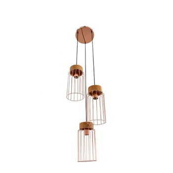 Adjustable 3-light metal wire cage wooden living room pendant lamp