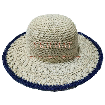 Women Cheap Wide Brimmed Hat Crochet Pattern Paper Straw Hat ... 3993056b9c8