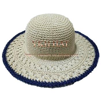 Women Cheap Wide Brimmed Hat Crochet Pattern Paper Straw Hat ... 45774275fbd