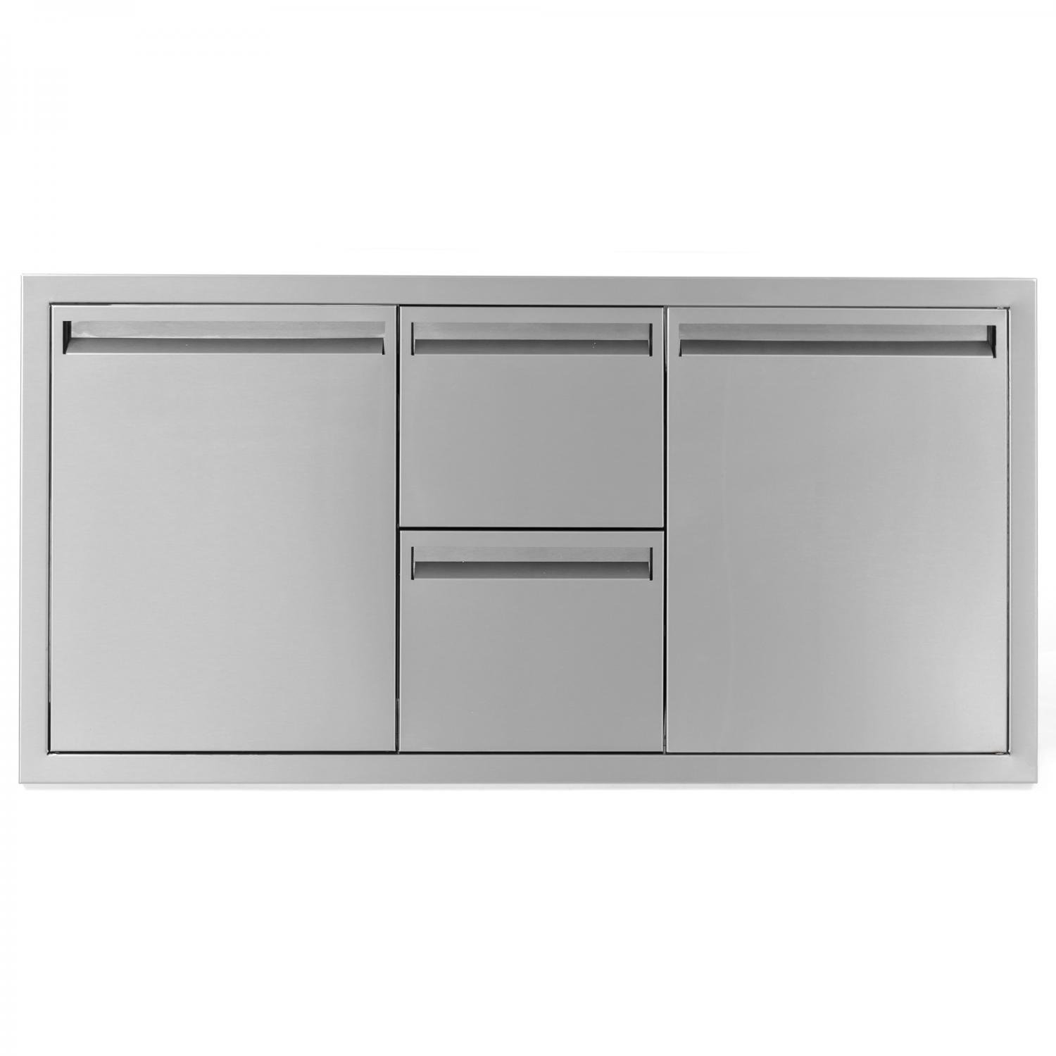 BBQGuys.com Aspen Series 42-inch Stainless Steel Door, Double Drawer & Roll-out Trash Bin Combo