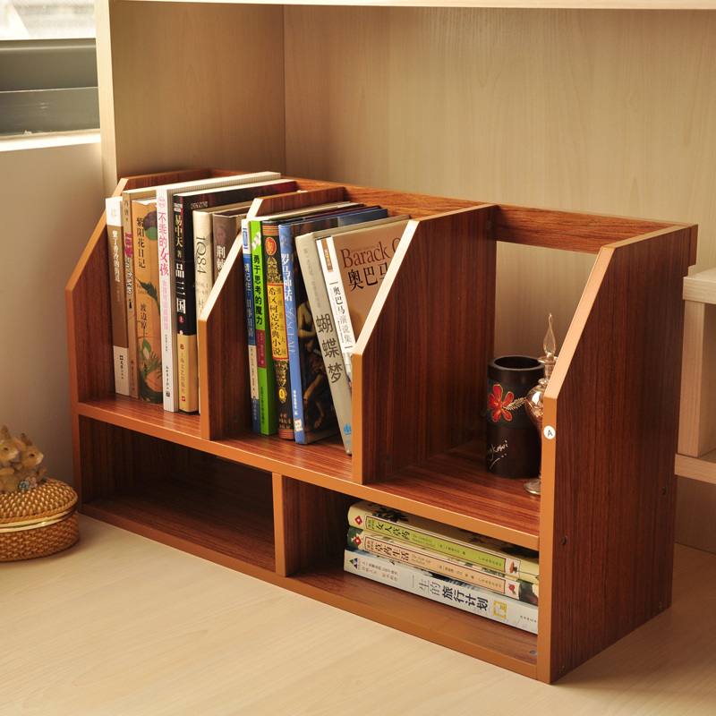 Simple Wood Table Small Bookcase Bookcase Shelving Office
