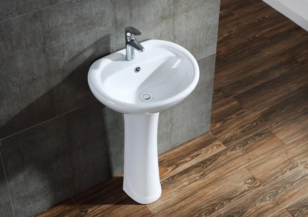 Small wash basin with pedestal diverter wall mixer