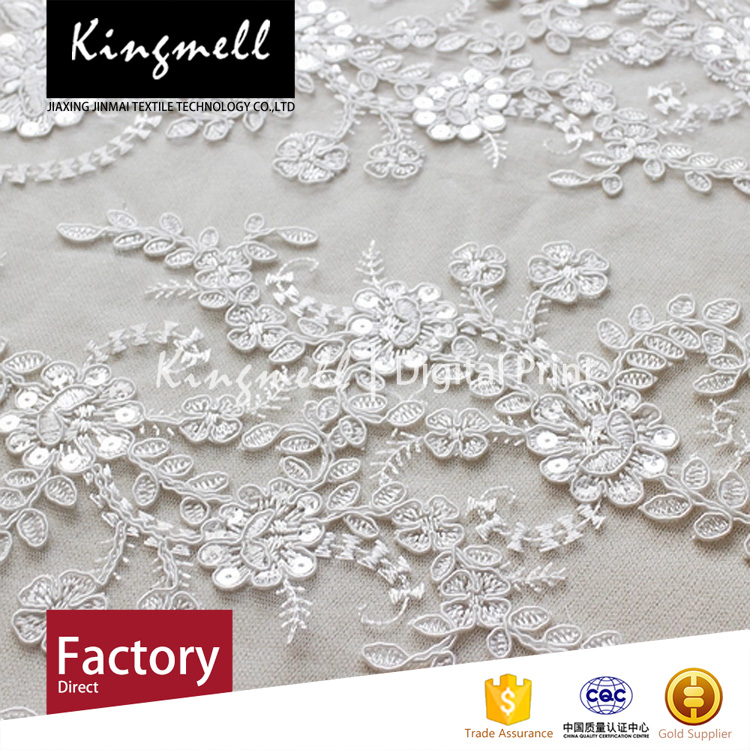 Custom digital printing polyester textile 3d flower lace embroidered fabric for women wedding dress