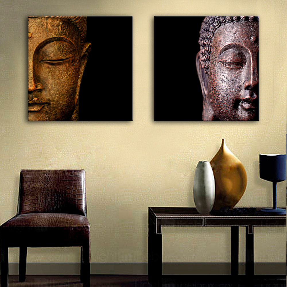 free shipping e home oil painting buddha head decoration painting home decor on canvas modern. Black Bedroom Furniture Sets. Home Design Ideas