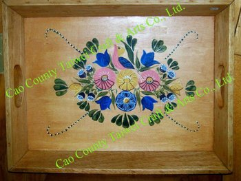 Hand Painted Mexican Art Wooden Tray - Buy Hand Painted Mexican Art Wooden  Tray,Antique Wooden Serving Tray,Decorative Wooden Tray Product on