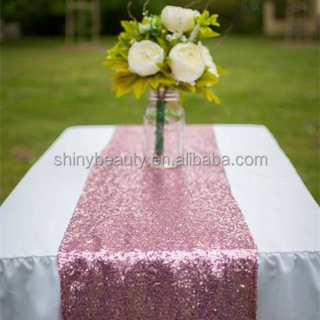 12x90-Inch Sequin Table Runner-Fushia Pink Sparkling Sequins Table Runner/Table Cover for Party/Wedding/Banquet