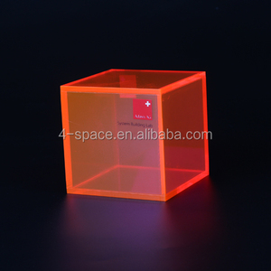 Plastic Neon color cube display Box fluorescent acrylic display box