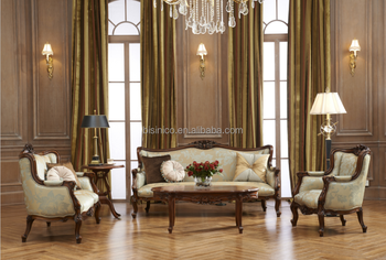 European Baroque Elegant Royal Home Furniture Wooden Sectional Sofa Luxury Matching Living Room