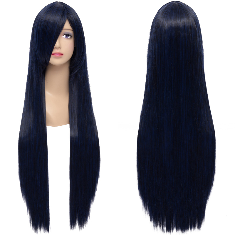 Get Quotations · New Fashion Women s Hair Wig Blue Black Long Straight  Synthetic Hair Heat Resistant Wig for Cosplay 1445794e1