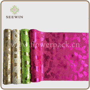 Artificial jute roll with different color metal print for table runner