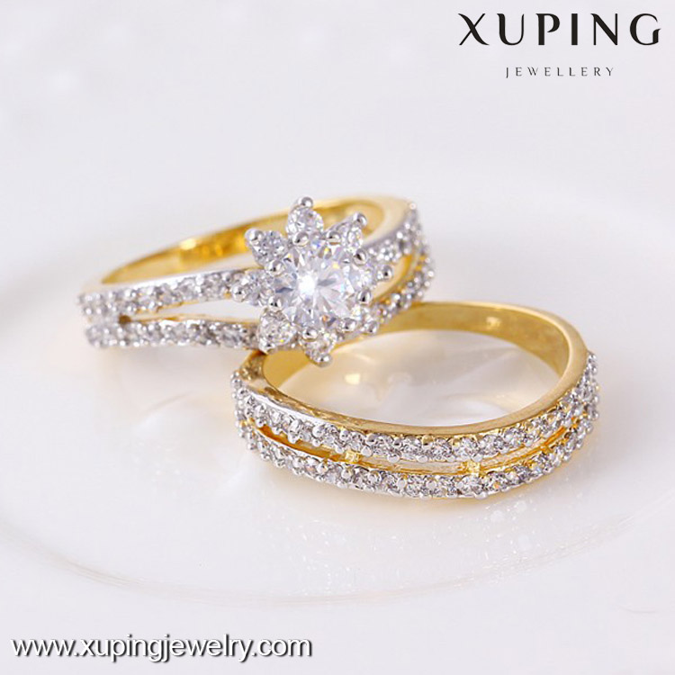 11387 Xuping 2pcsset Multicolor Gold New Model Wedding Ring Couple