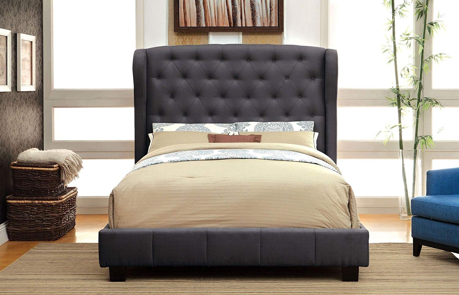 Luxeo Newport Wingback Tufted Upholstered Bed In Palazzo