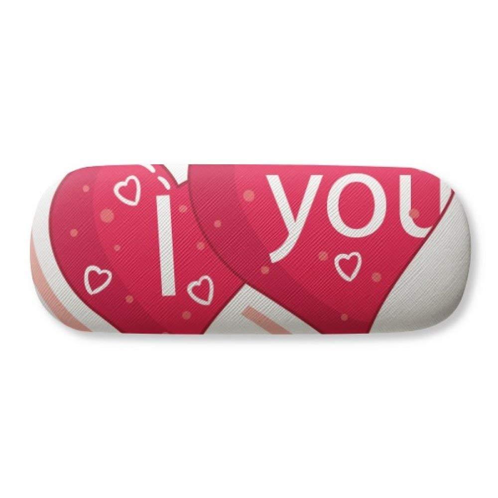 Valentines Day Pink White Heart Spots Glasses Case Eyeglasses Clam Shell Holder Storage Box