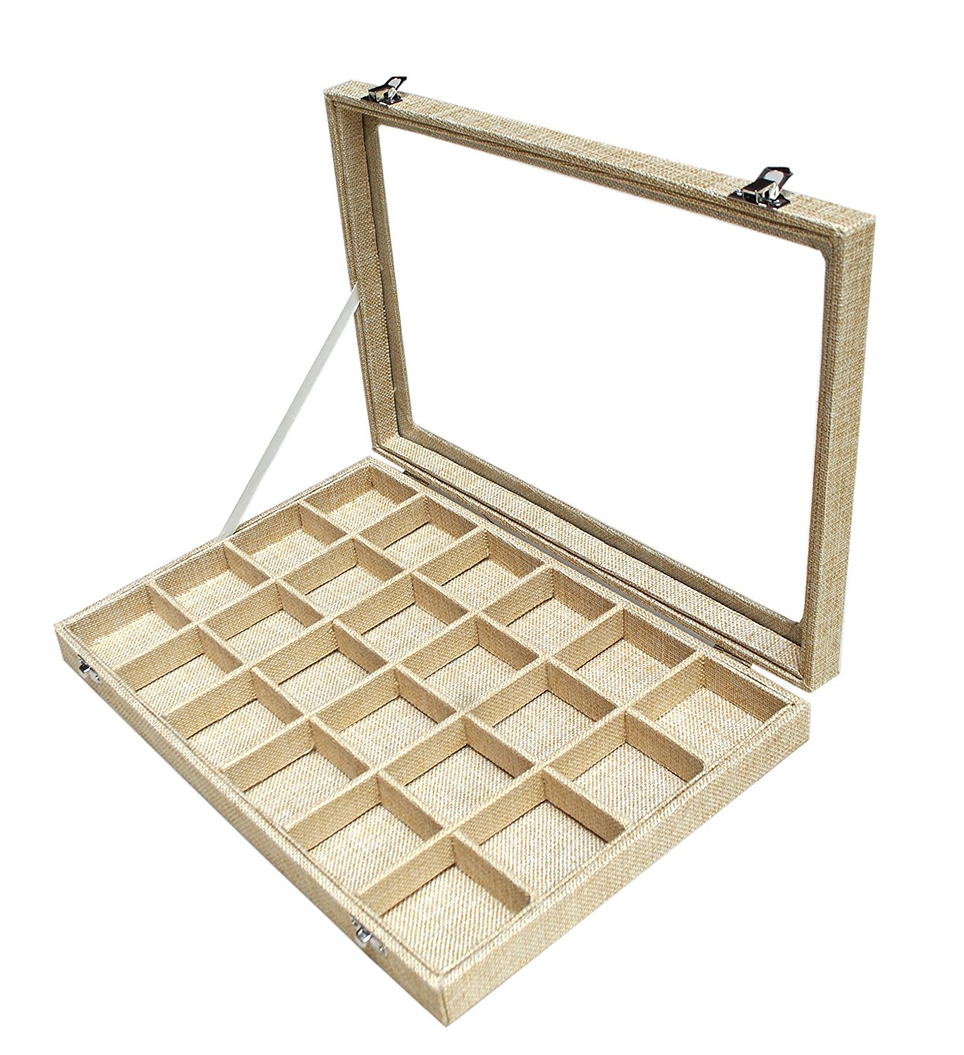 Sican Burlap Jewerly Display Travel Case Tray Showcase For Ring Pendant Earrings