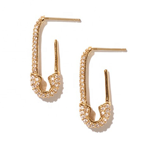 Safety pin white zirconia gold jewelry huggie hoop earrings
