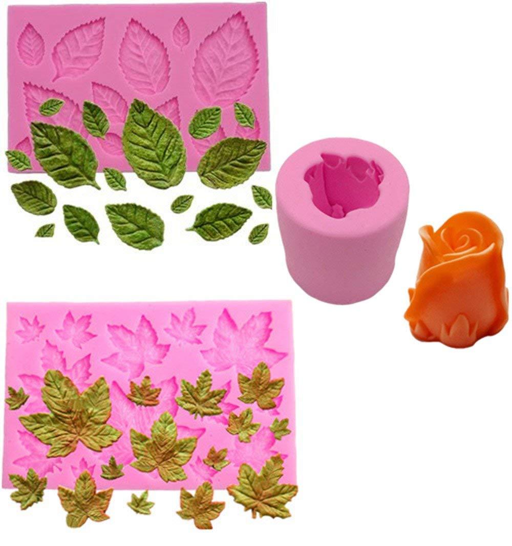 Efivs Arts 3 pcs 3D Mini Maple Leaf Mini Rose Leaves 3D Rose Shaped Silicone Mold Fondant Mold Cupcake Cake Decoration Tool Soap Mold Candle DIY Mold
