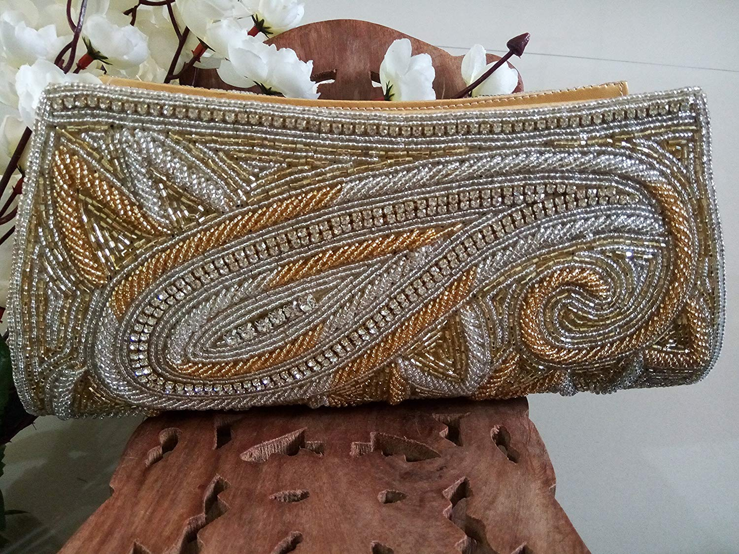 Gold Beaded Evening Bag, Bridal Clutch Wallet,Indian Bead Purse, Vintage Accessories