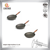 Custome 6 to 14 Inch cast iron paella pans cast iron fry pan with wooden handle