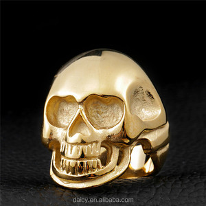 DAICY punk style big stainless steel skull gold ring men