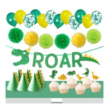 2019 new arrival party supplies jungle dinosaur roar  banner  party hat kids dinosaur birthday party decorations