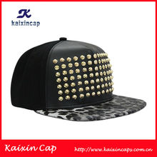 Fashion Black High Quality Rivet Front Spikes Rivets Studded Adjustable Hat Cap Snapback Made In China